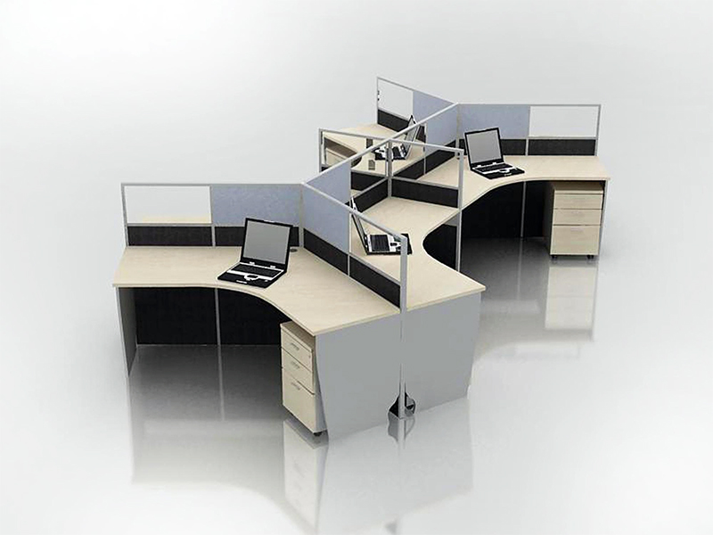 Office Cubicle For 6 Blocco Cz Wp 5 System Furniture