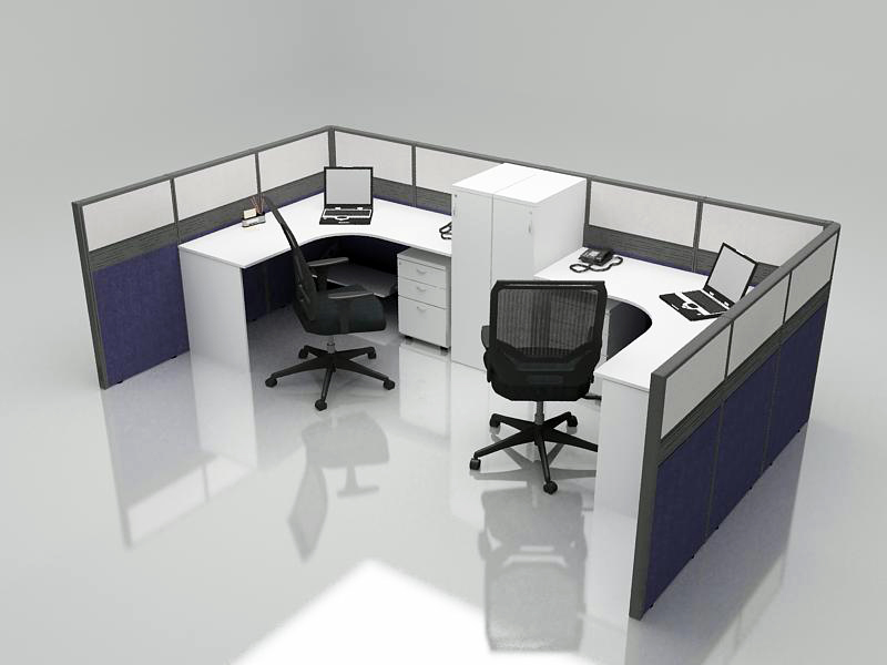 Office Cubicle for 2 Person - BLOCCO-CZ-WP-1C