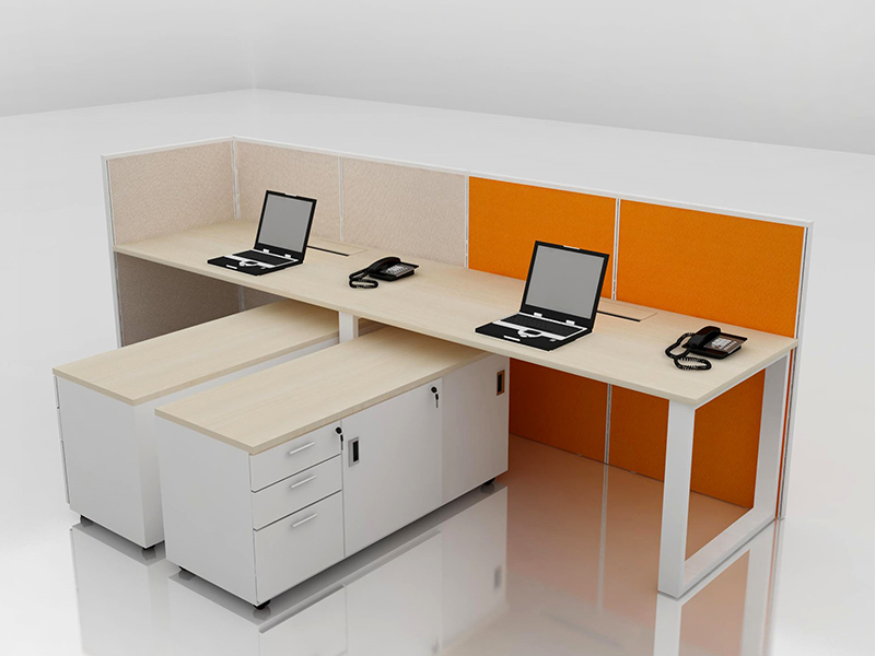 Office Cubicle for 2 Person - BLOCCO-VIVO2-1B